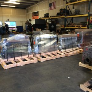 4 Diesel Engines Wrapped and Ready for Shipment