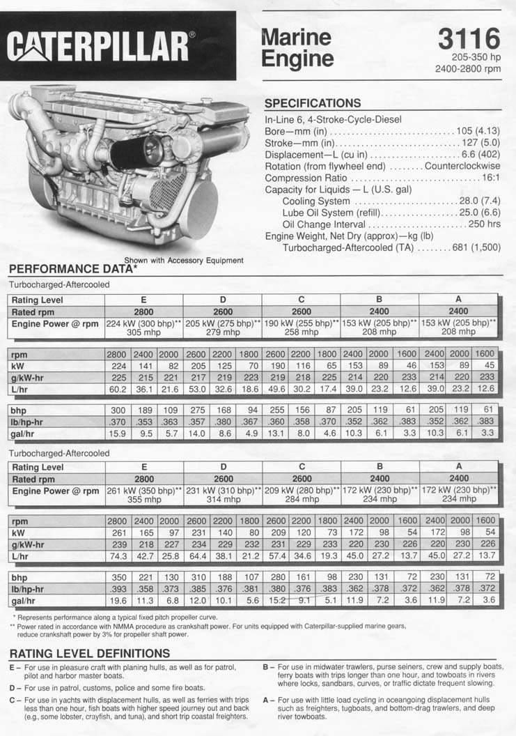 3116 cat engine horsepower  3116  free engine image for