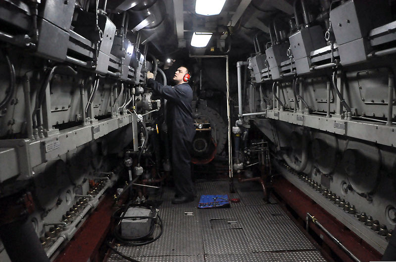 Naval Ship Diesel Engine Room